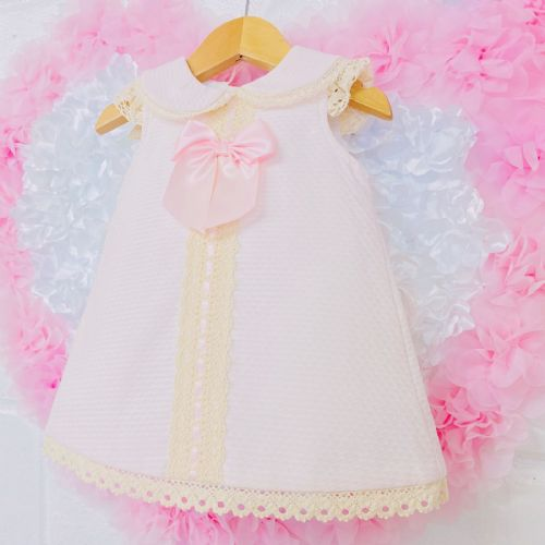 *SALE* Gorgeous Baby Girl Pink Spanish Collar Dress Lace Detail